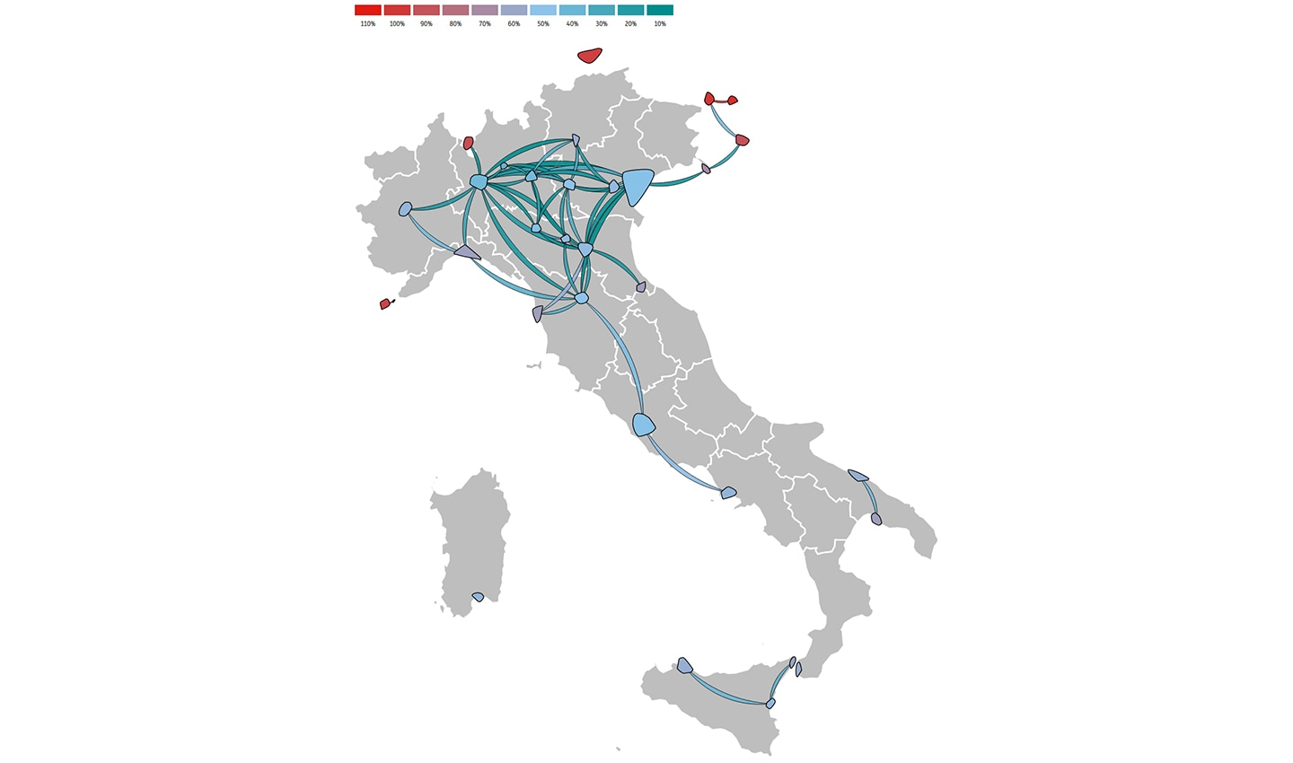 Remaining mobility in Italy between March 7, 2020 and March 13, 2020 as a percentage of January traffic.