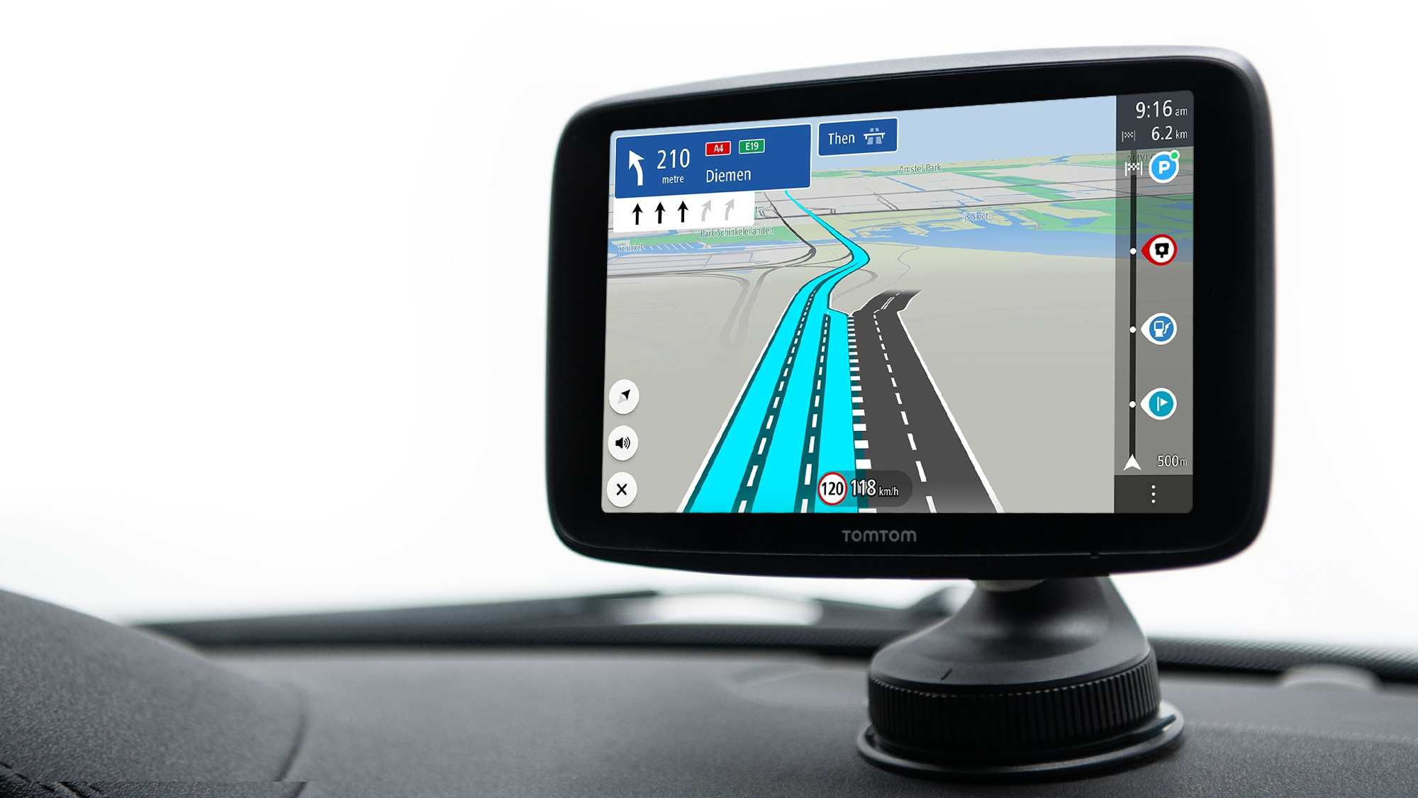 TomTom GO Series with better and brighter touchscreen, provides clear visibility on the navigation