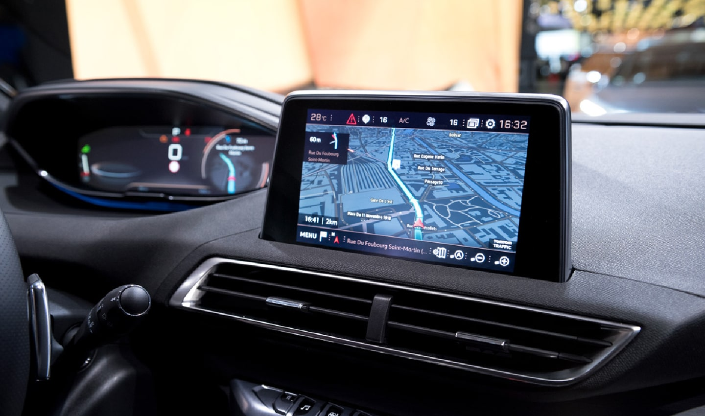 The TomTom powered digital cockpit in a Peugeot 308