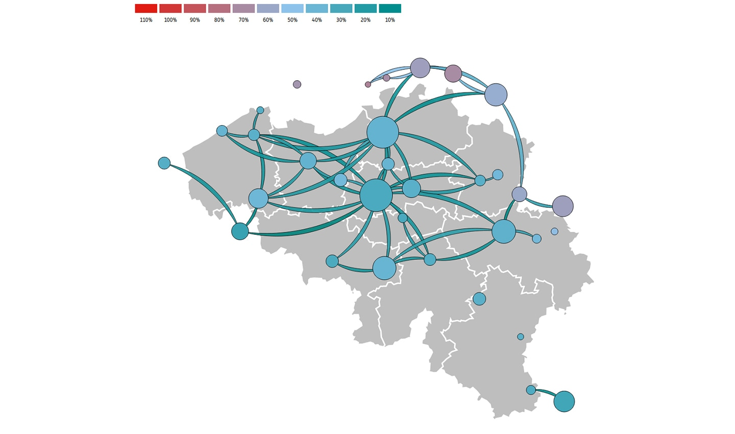 Remaining mobility in Belgium between April 4, 2020 and April 10, 2020 as a percentage of January traffic.