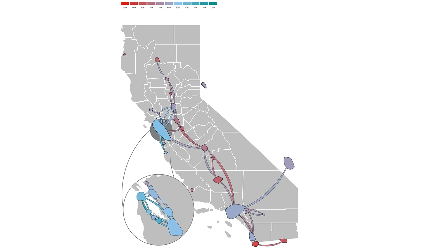 Remaining mobility in California between March 14, 2020 and March 20, 2020 as a percentage of January traffic.