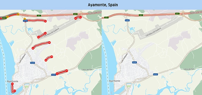 The city of Ayamonte in Spain, before and after being blocked off completely except for one restricted access via E-1.