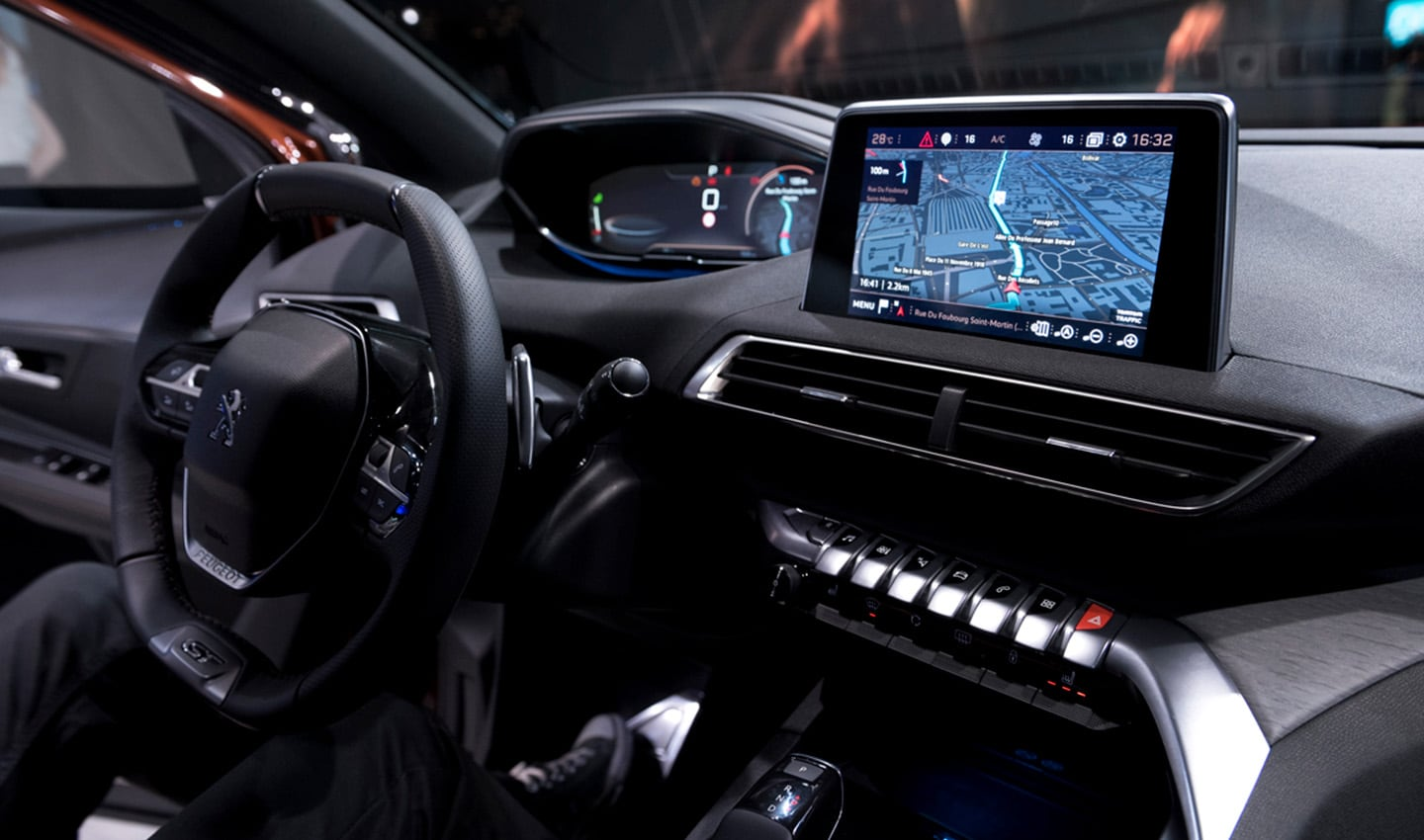 The infotainment system in new Peugeots features a cluster screen and central screen.