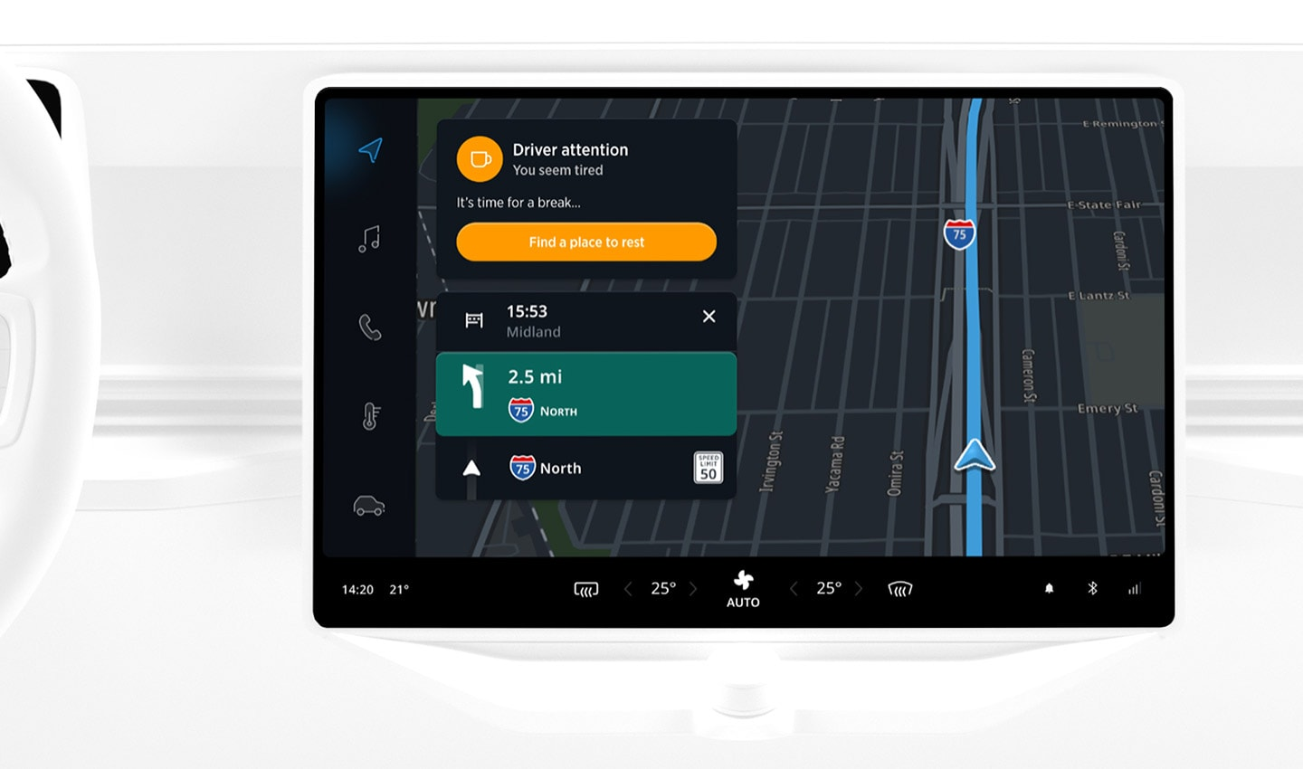 When a driver is showing signs of tiredness, the TomTom navigation will alert them and suggest they find a place to rest.