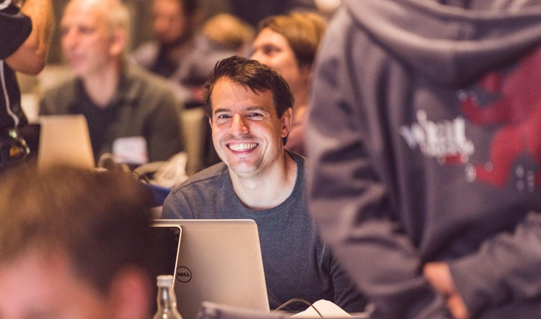 A hackathon participant in Berlin, 2018