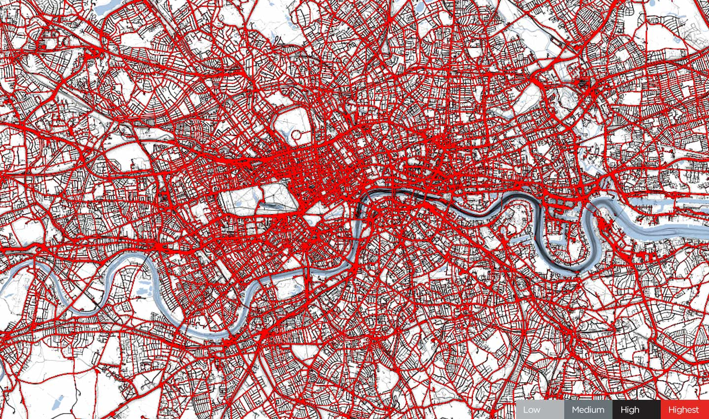 Traffic in London, Easter weekend 2019.