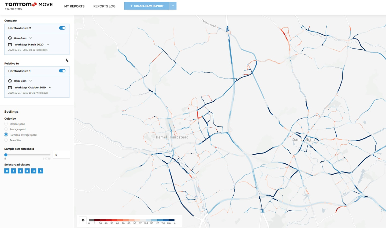 Traffic comparison for Hemel Hempstead