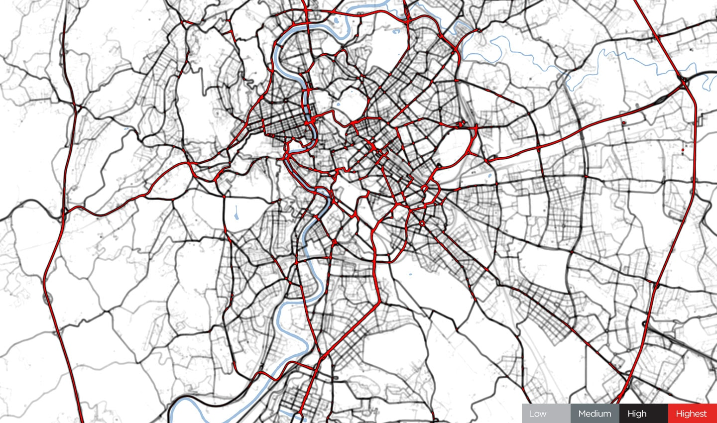 Traffic in Rome, January 24, 2020. Before COVID-19 restrictions.