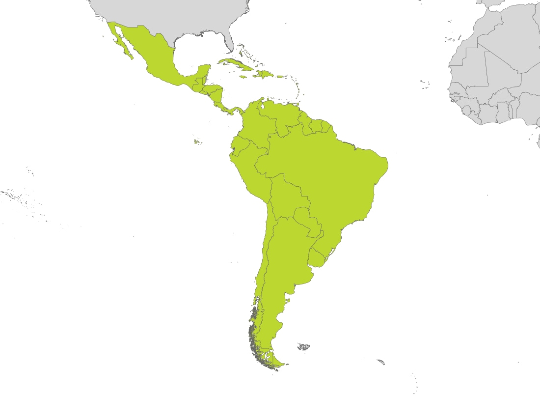 Map of South America, Caribbean & Mexico