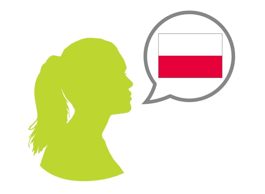 Female silhouette speaking Polish language
