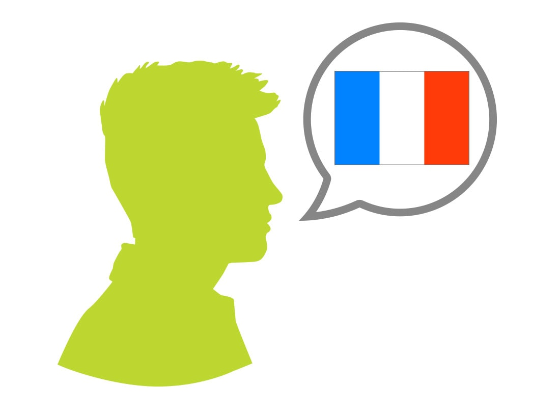 Male silhouette speaking French language