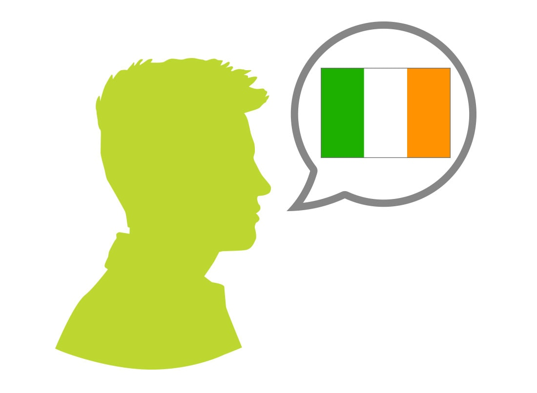 Male silhouette speaking Irish language