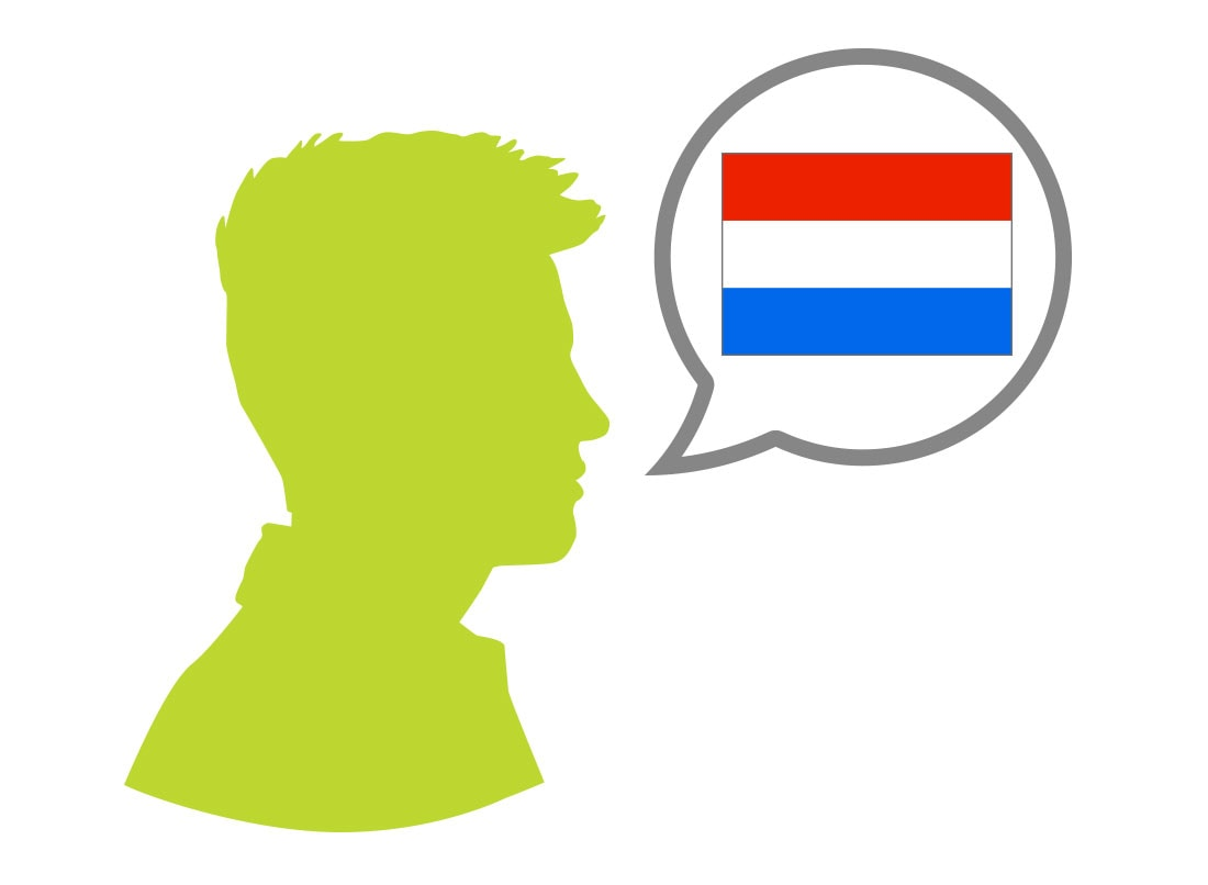 Male silhouette speaking Dutch language