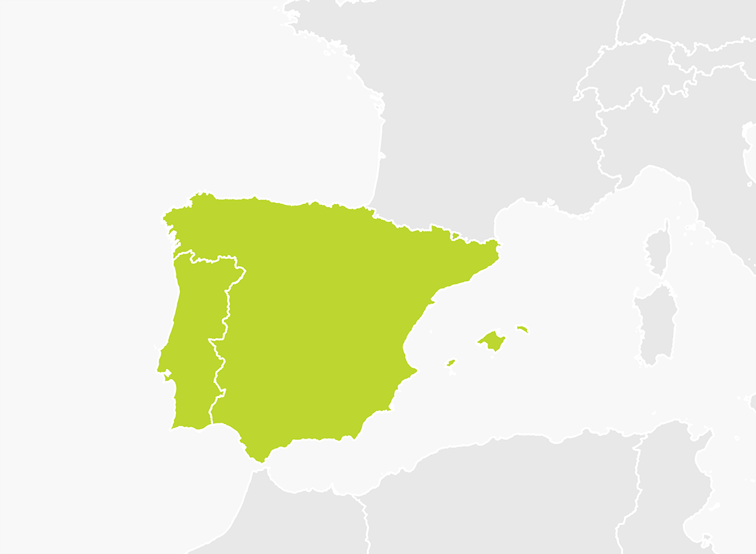 Map of Iberia (Spain and Portugal)