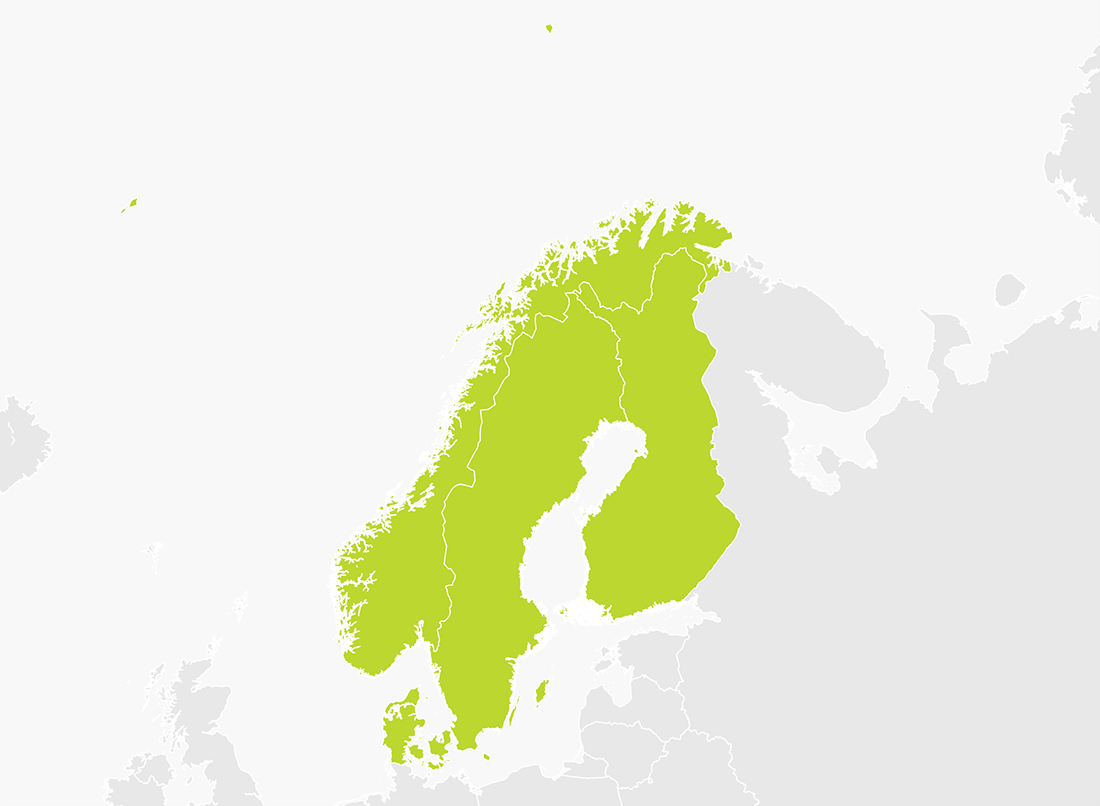 Map of Scandinavia (Denmark, Finland, Norway & Sweden)