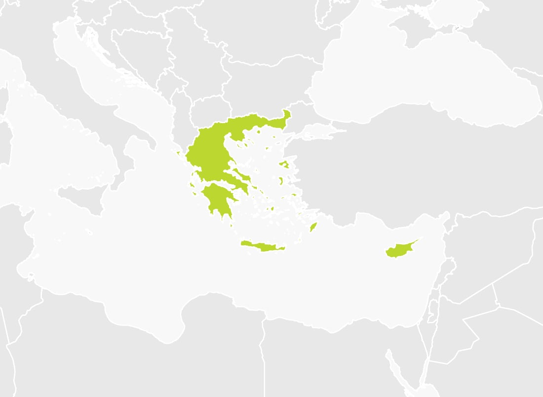 Map of Greece and Cyprus