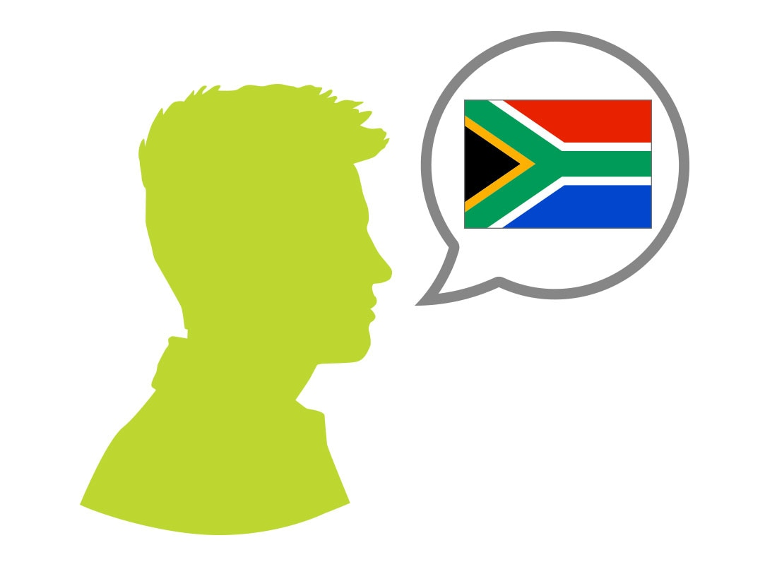 Male silhouette speaking Afrikaans language