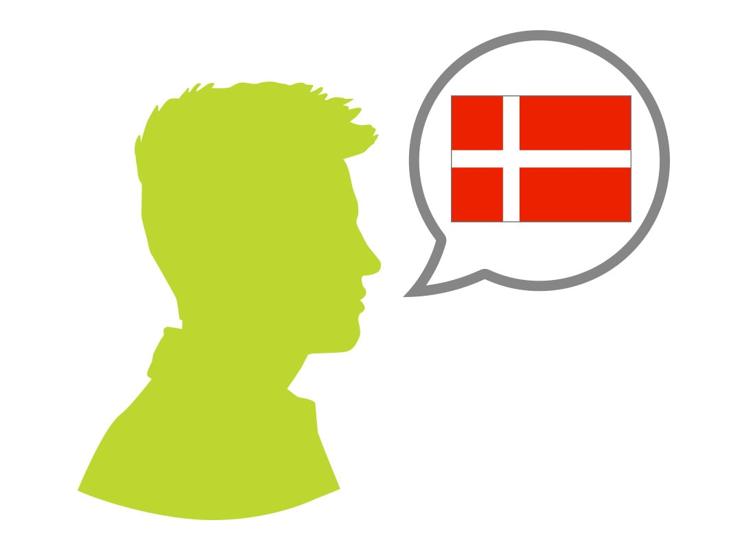 Male silhouette speaking Danish language