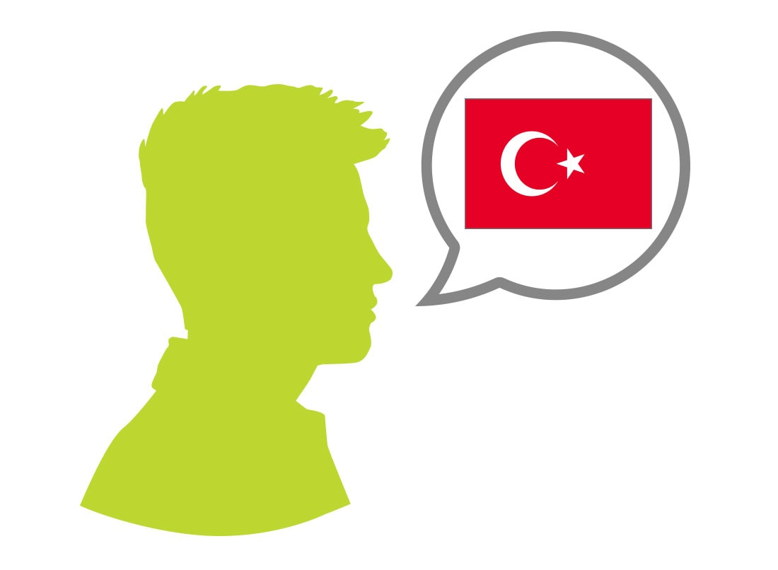 Male silhouette speaking Turkish language