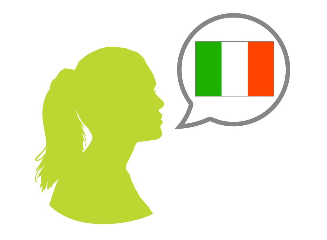 Female silhouette speaking Italian language