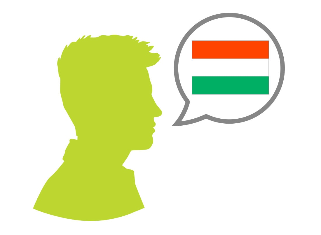 Male silhouette speaking Hungarian language