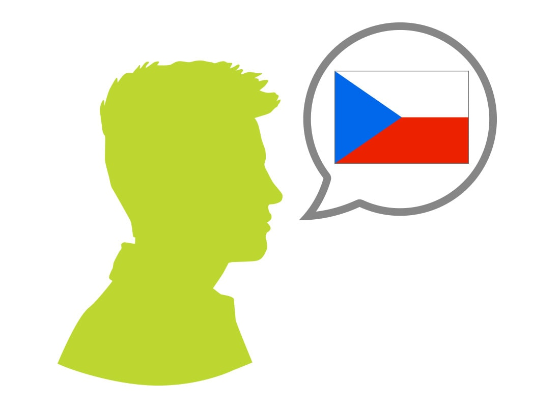 Male silhouette speaking Czech language