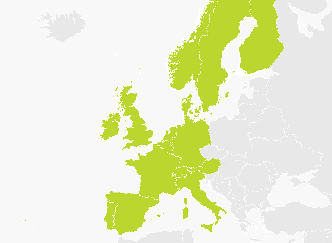tomtom western europe coverage map Map of Western Europe | TomTom
